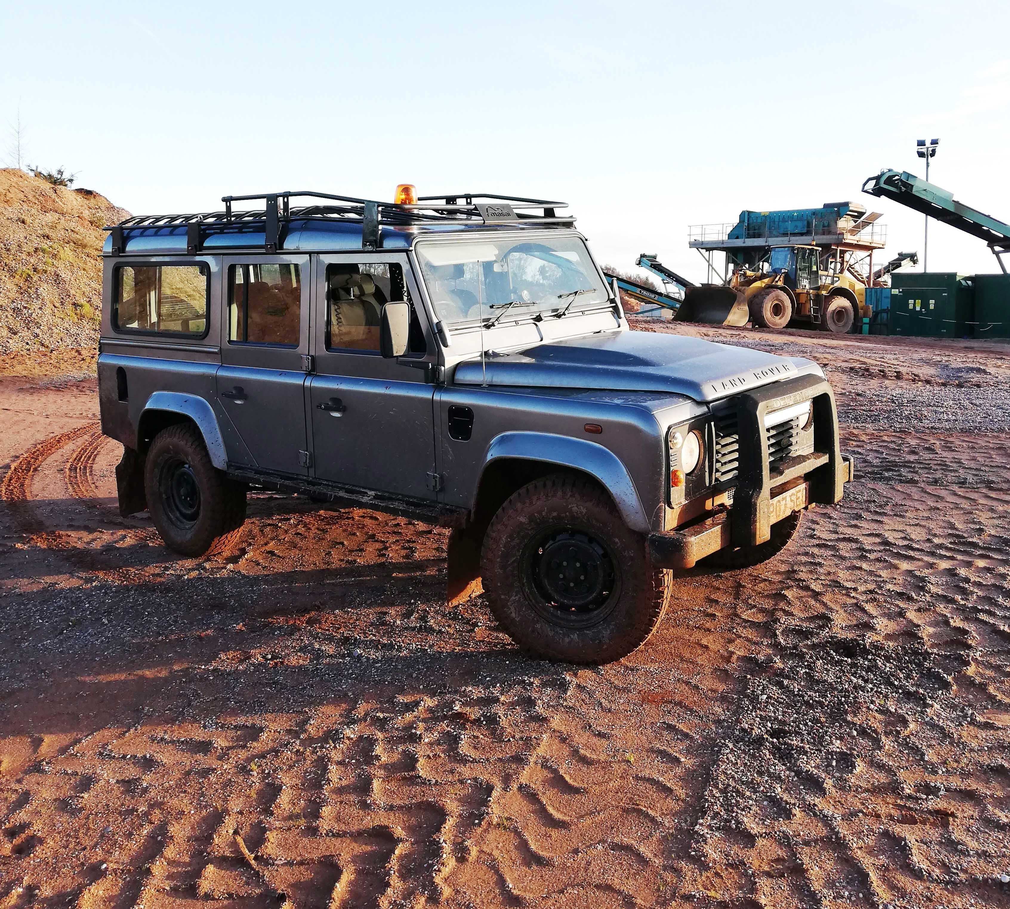 Our Land Rover Defender to get around the quarries