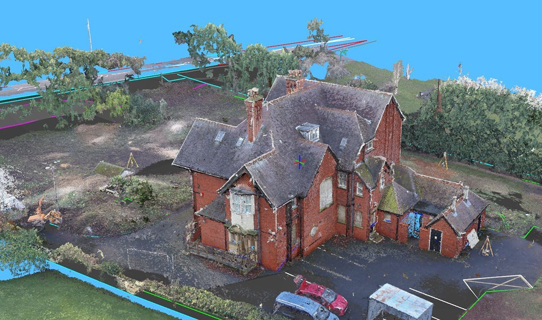 Drone generated point cloud merged with survey